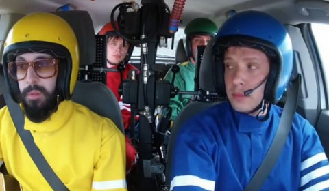 OK Go about to start their drive for the chevy commercial during the superbowl