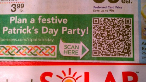 Albertson's St Patrick's QR Code up close